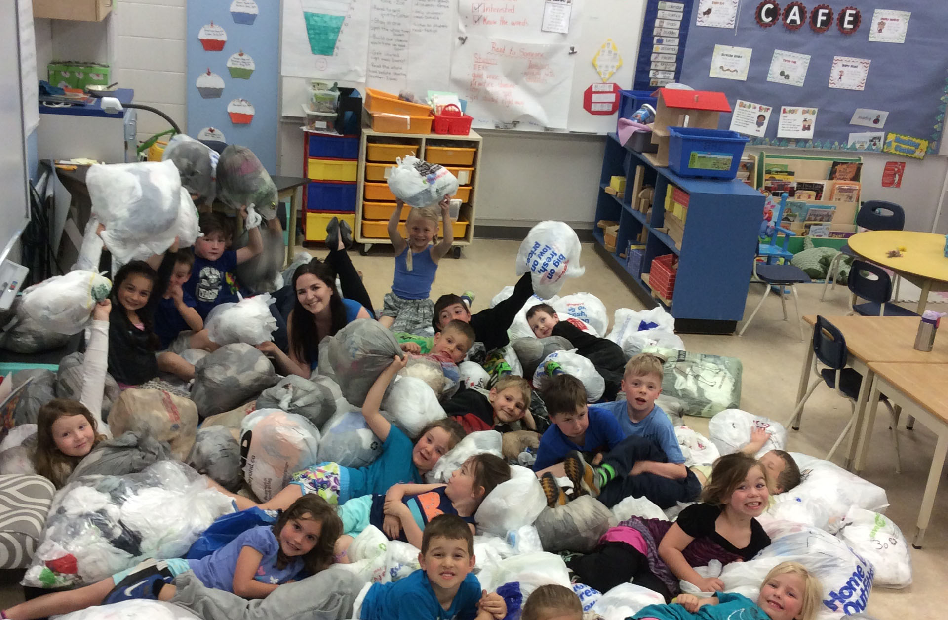 """WOWSA.... Mrs. Brunn's students collected  5,166 plastic bags!  The EARTH says, """"Thank you BME!"""""""